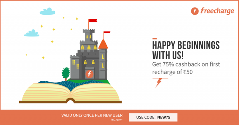 Freecharge NEW75 Offer: Get 75% Cashback on Recharge