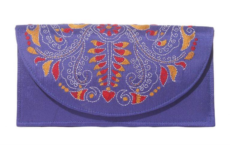 kantha embroidered fabric sling bag