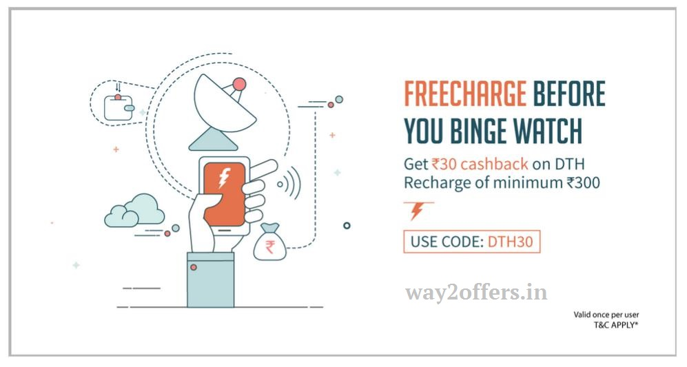 Freecharge DTH Cashback Offer - Rs 30 Cashback on DTH Recharge